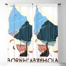 Bornholm map Blackout Curtain