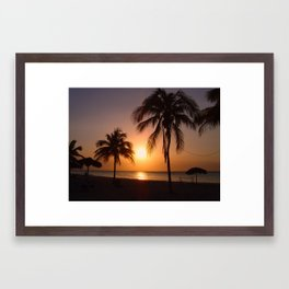 Palm trees at sunset Framed Art Print