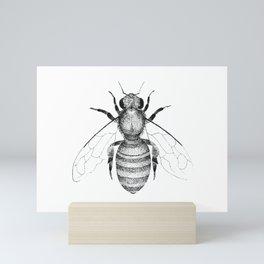 Modern & minimalist honeybee illustration in black and white Mini Art Print