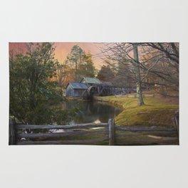 Winter Morning At Mabry Mill Rug
