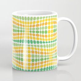 Dottywave - Green Yellow wave dots pattern Coffee Mug