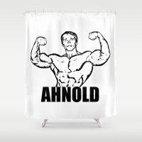 arnold Shower Curtains featuring Arnold Schwarzenegger  |  AHNOLD by Silvio Ledbetter