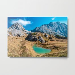 The Bordaglia lake in a colorful autumn day Metal Print