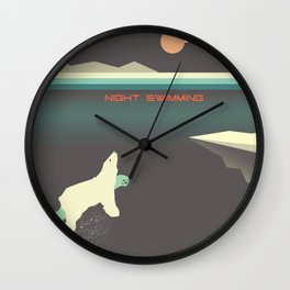 Polar bear nigh swimming Wall Clock