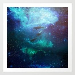 Mystic dolphins Art Print