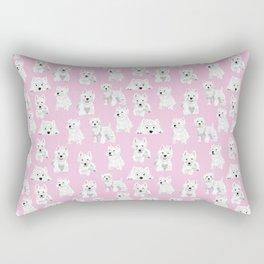 Westies on pink Rectangular Pillow
