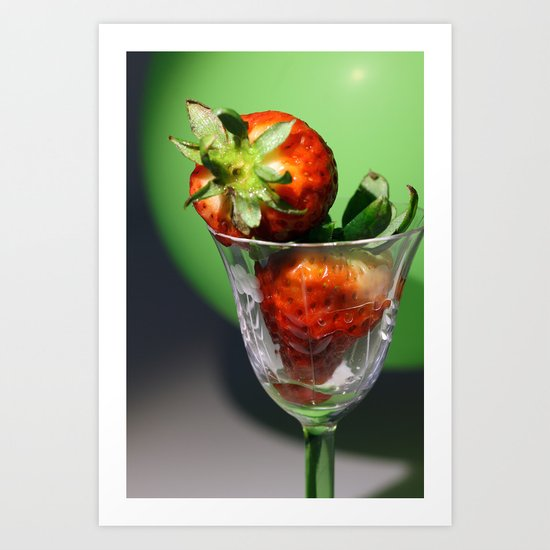 Strawberries in the glass Art Print