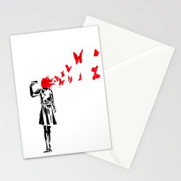 gun and butterflies banksy Stationery Cards
