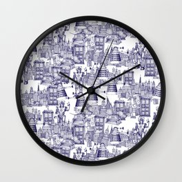 Doctor Who Toile de Jouy | 'Walking Doodle' | Blue Wall Clock
