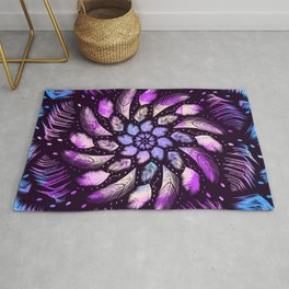 Feathers Mandala Dreamcatcher - Iridescent colors on black background Rug