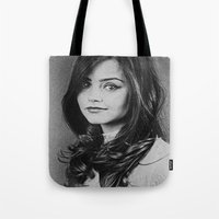 jenna kutcher Tote Bags featuring  Dedication Artwork: Jenna Coleman (2 of 2) by InnerSymbiance