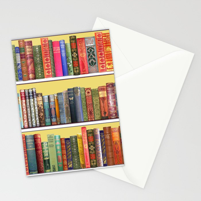 Christmas books antique vintage library Stationery Cards