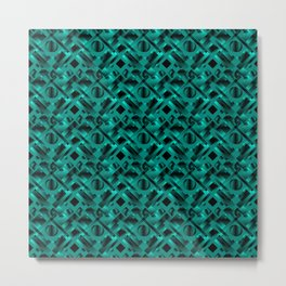 Stylish design with rotating circles and light blue rectangles from dark stripes. Metal Print