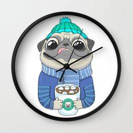 Pug with coffee Wall Clock
