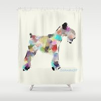 schnauzer Shower Curtains featuring Schnauzer modern by bri.buckley