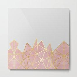 Pink & Gold Geometric Metal Print