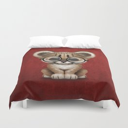 Cute Cougar Cub Wearing Reading Glasses on Red Duvet Cover