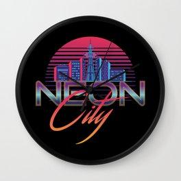 Neon City Retro Wave - 80's Aesthetics Wall Clock