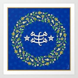 Bahá'i Ringstone With Floral Frame Art Print