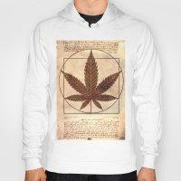 marijuana Hoodies featuring vitruvian marijuana by Emekli Astronot