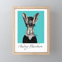 Audrey Hareburn cute breakfast Tiffany bunny rabbit Framed Mini Art Print