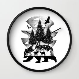 A NIGHT IN ALASKA Wall Clock
