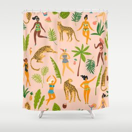 Beach Girl & Leopard Shower Curtain