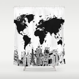 world map city skyline 4 Shower Curtain