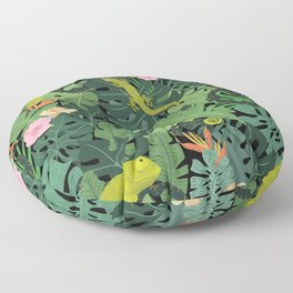 Chameleons And Salamanders In The Jungle Pattern Floor Pillow