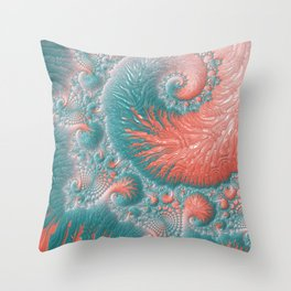 Abstract Coral Reef Living Coral Pastel Teal Blue Texture Spiral Swirl Pattern Fractal Fine Art Throw Pillow