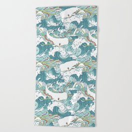 Whales and waves pattern Beach Towel