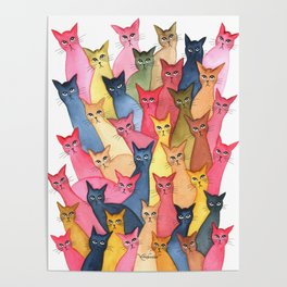 Stayton Many Whimsical Cats Poster