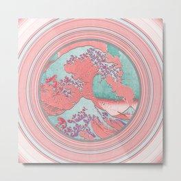 Great Wave Off of Kanagawa Mount Fuji Eruption and Circles Metal Print