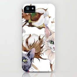 Cotton Flower & Cat Pattern 01 iPhone Case