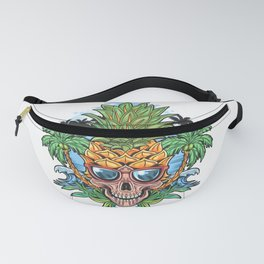 Skull Pineapple Head With Glasses Coconut Tree Beach Artwork Fanny Pack