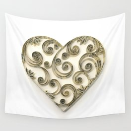 Vintage Sheet Music Heart Wall Tapestry