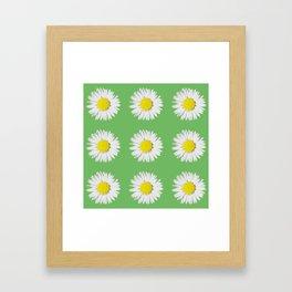 Retro Daisy · Green Framed Art Print