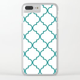 Quatrefoil - Teal on White - larger Clear iPhone Case
