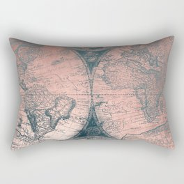 Vintage World Map Rose Gold and Storm Gray Navy Rectangular Pillow