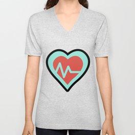 Heart Cardiac Line Super Cute Gift Idea Unisex V-Neck