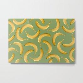 Bananas Pattern - green Metal Print