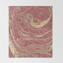 Elegant burgundy faux gold stylish modern marble Throw Blanket