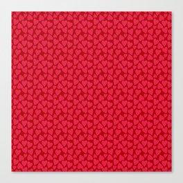 Valentine Hearts Dark Red Background Canvas Print