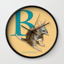"""""""B is for Bandicoot"""": The UnderAppreciated Animals™ series Wall Clock"""