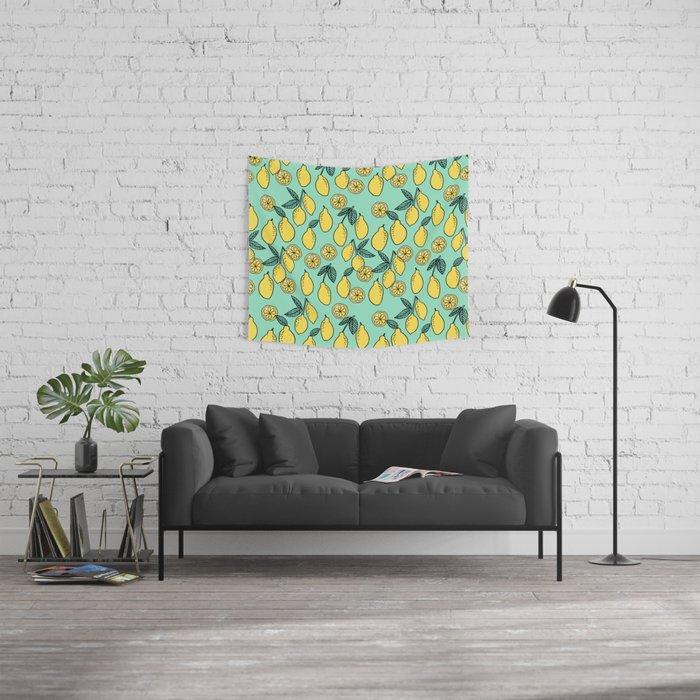 Lemons Minimal Pastel Pattern Print By Andrea Lauren Cute Home Decor Fruit Patterns Wall Tapestry