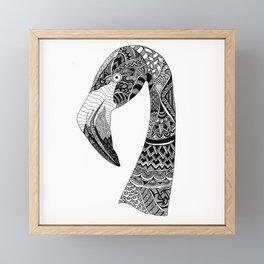 Flamingo On White Framed Mini Art Print