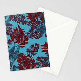 Blue Forest and Red Leaves Stationery Cards