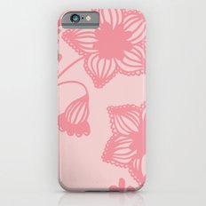 Floral silhouette pink Slim Case iPhone 6s