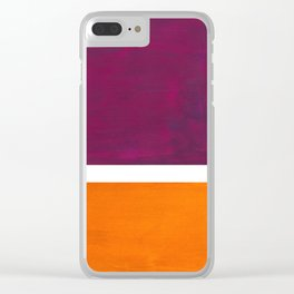 Purple Wine Yellow OchreMid Century Modern Abstract Minimalist Rothko Color Field Squares Clear iPhone Case