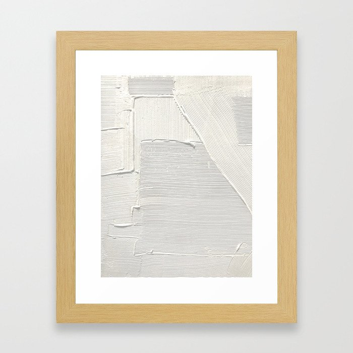Relief [2]: an abstract, textured piece in white by Alyssa Hamilton Art Gerahmter Kunstdruck
